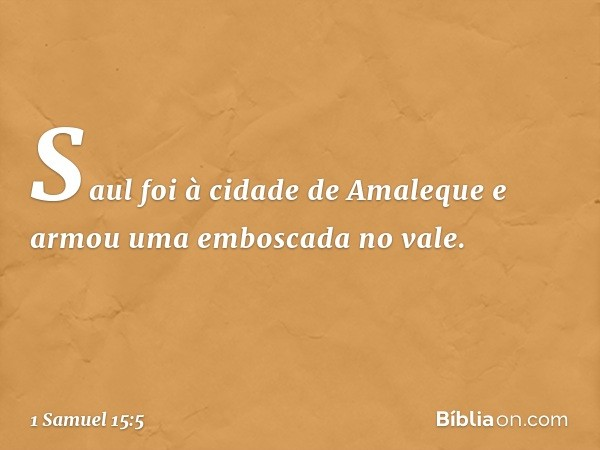 Saul foi à cidade de Amaleque e armou uma emboscada no vale. -- 1 Samuel 15:5