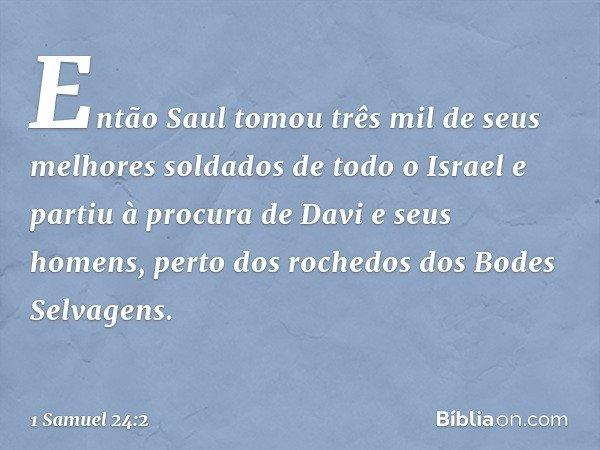 Então Saul tomou três mil de seus melhores soldados de todo o Israel e partiu à procura de Davi e seus homens, perto dos rochedos dos Bodes Selvagens. -- 1 Samu