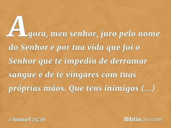 """""""Agora, meu senhor, juro pelo nome do Senhor e por tua vida que foi o Senhor que te impediu de derramar sangue e de te vingares com tuas próprias mãos. Que teus"""