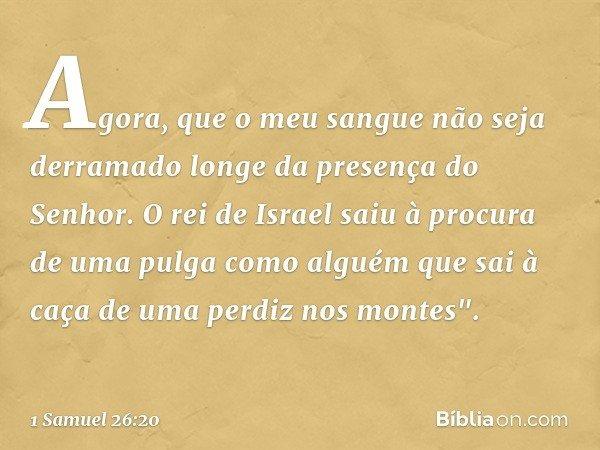 Agora, que o meu sangue não seja derramado longe da presença do Senhor. O rei de Israel saiu à procura de uma pulga como alguém que sai à caça de uma perdiz nos