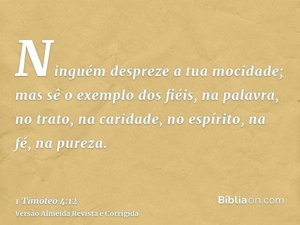 Ninguém despreze a tua mocidade; mas sê o exemplo dos fiéis, na palavra, no trato, na caridade, no espírito, na fé, na pureza.