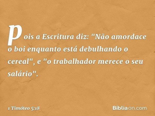 pois a Escritura diz: