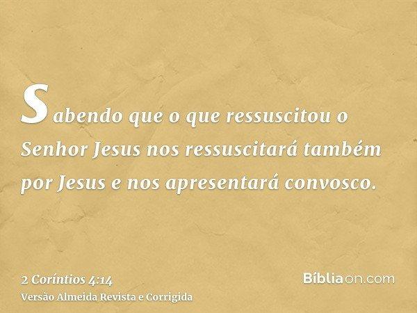 sabendo que o que ressuscitou o Senhor Jesus nos ressuscitará também por Jesus e nos apresentará convosco.