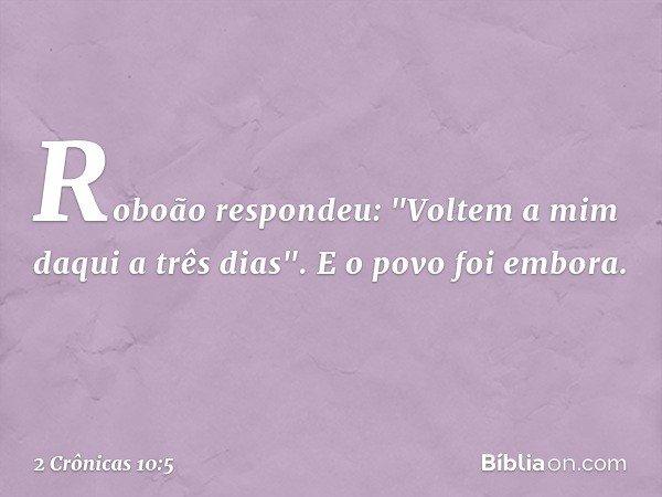"""Roboão respondeu: """"Voltem a mim daqui a três dias"""". E o povo foi embora. -- 2 Crônicas 10:5"""