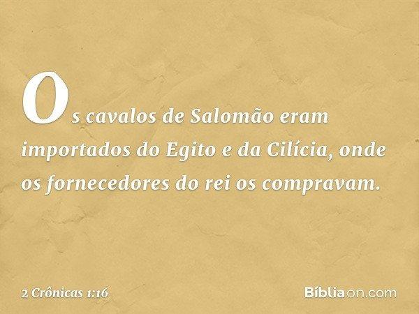 Os cavalos de Salomão eram importados do Egito e da Cilícia, onde os fornecedores do rei os compravam. -- 2 Crônicas 1:16