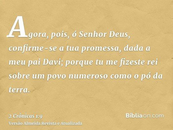 Agora, pois, ó Senhor Deus, confirme-se a tua promessa, dada a meu pai Davi; porque tu me fizeste rei sobre um povo numeroso como o pó da terra.