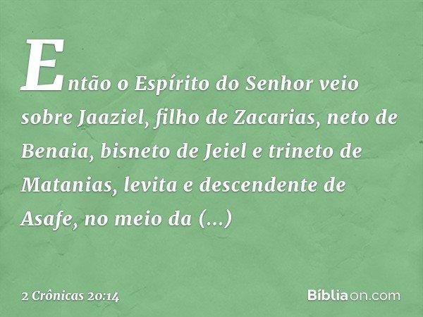 Então o Espírito do Senhor veio sobre Jaaziel, filho de Zacarias, neto de Benaia, bisneto de Jeiel e trineto de Matanias, levita e descendente de Asafe, no meio