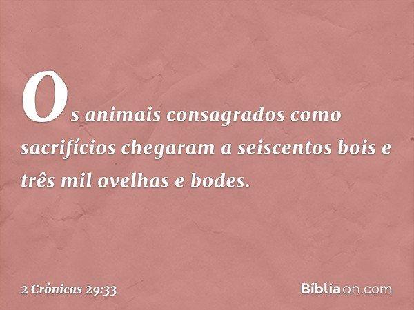 Os animais consagrados como sacrifícios chegaram a seiscentos bois e três mil ovelhas e bodes. -- 2 Crônicas 29:33
