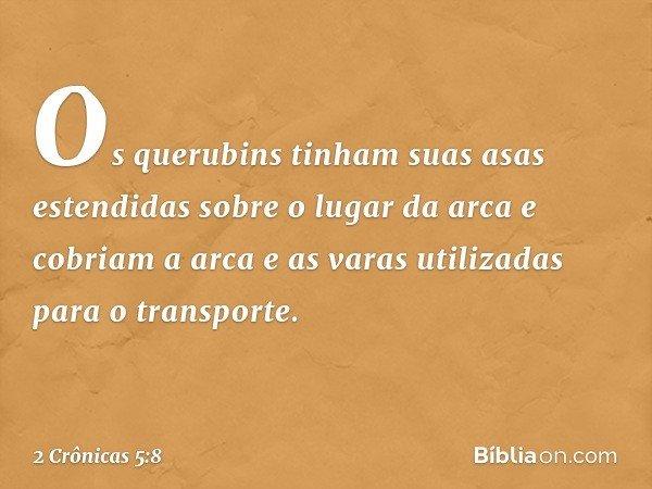 Os querubins tinham suas asas estendidas sobre o lugar da arca e cobriam a arca e as varas utilizadas para o transporte. -- 2 Crônicas 5:8