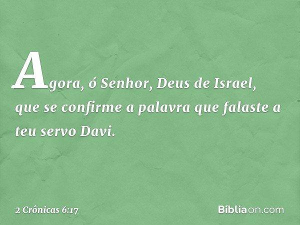Agora, ó Senhor, Deus de Israel, que se confirme a palavra que falaste a teu servo Davi. -- 2 Crônicas 6:17