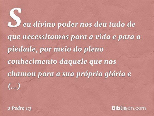 Seu divino poder nos deu tudo de que necessitamos para a vida e para a piedade, por meio do pleno conhecimento daquele que nos chamou para a sua própria glória