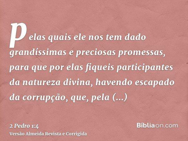pelas quais ele nos tem dado grandíssimas e preciosas promessas, para que por elas fiqueis participantes da natureza divina, havendo escapado da corrupção, que,