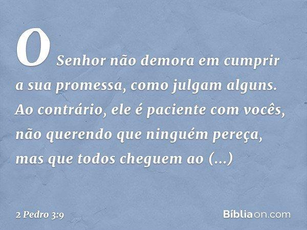 O Senhor não demora em cumprir a sua promessa, como julgam alguns. Ao contrário, ele é paciente com vocês, não querendo que ninguém pereça, mas que todos chegue