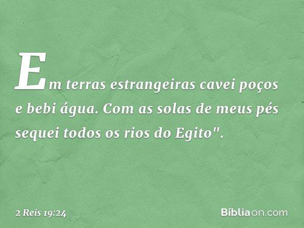 """Em terras estrangeiras cavei poços e bebi água. Com as solas de meus pés sequei todos os rios do Egito"""". -- 2 Reis 19:24"""
