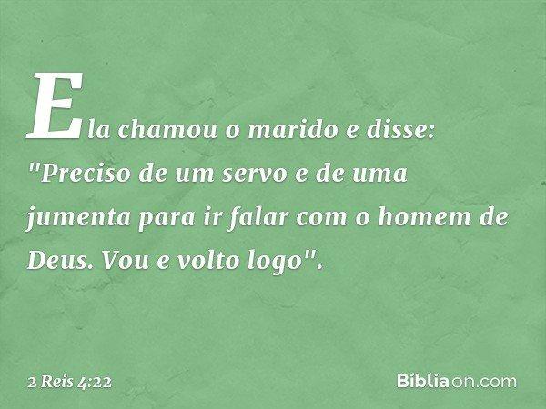 """Ela chamou o marido e disse: """"Preciso de um servo e de uma jumenta para ir falar com o homem de Deus. Vou e volto logo"""". -- 2 Reis 4:22"""