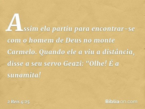 """Assim ela partiu para encontrar-se com o homem de Deus no monte Carmelo. Quando ele a viu a distância, disse a seu servo Geazi: """"Olhe! É a sunamita! -- 2 Reis 4"""