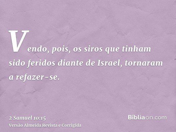 Vendo, pois, os siros que tinham sido feridos diante de Israel, tornaram a refazer-se.