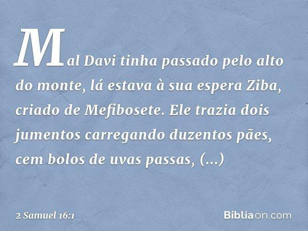 Mal Davi tinha passado pelo alto do monte, lá estava à sua espera Ziba, criado de Mefibosete. Ele trazia dois jumentos carregando duzentos pães, cem bolos de uv