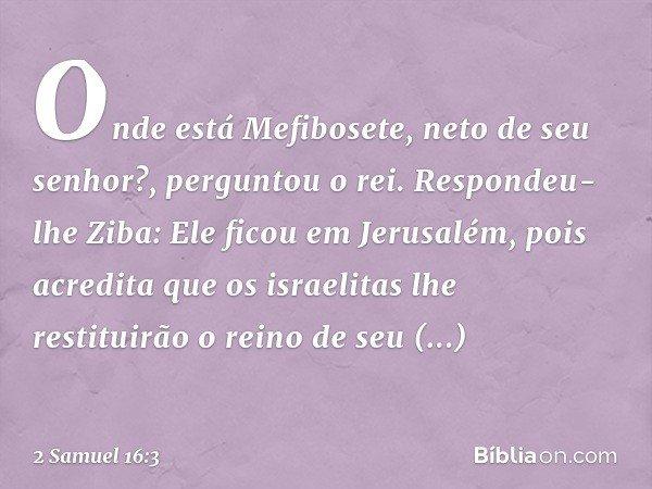 """""""Onde está Mefibosete, neto de seu senhor?"""", perguntou o rei. Respondeu-lhe Ziba: """"Ele ficou em Jerusalém, pois acredita que os israelitas lhe restituirão o rei"""