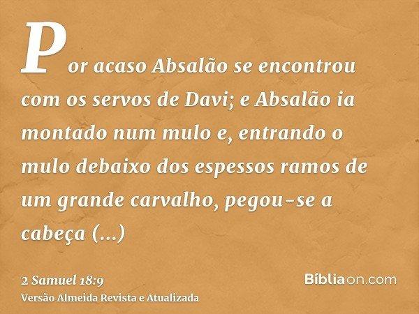 Por acaso Absalão se encontrou com os servos de Davi; e Absalão ia montado num mulo e, entrando o mulo debaixo dos espessos ramos de um grande carvalho, pegou-s