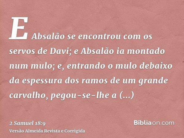 E Absalão se encontrou com os servos de Davi; e Absalão ia montado num mulo; e, entrando o mulo debaixo da espessura dos ramos de um grande carvalho, pegou-se-l