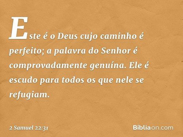 """""""Este é o Deus cujo caminho é perfeito; a palavra do Senhor é comprovadamente genuína. Ele é escudo para todos os que nele se refugiam. -- 2 Samuel 22:31"""