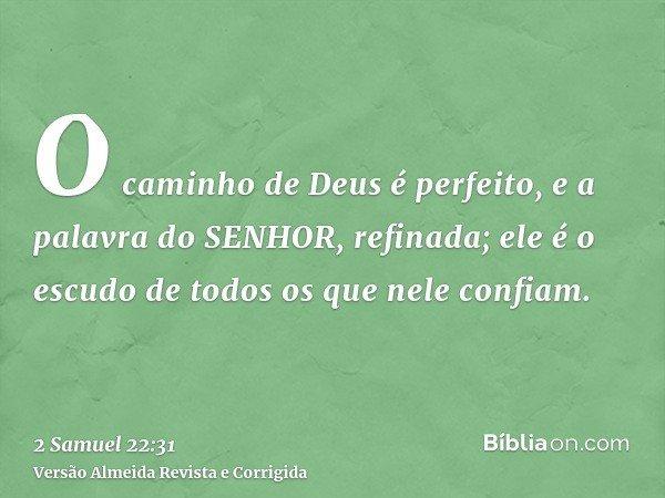 O caminho de Deus é perfeito, e a palavra do SENHOR, refinada; ele é o escudo de todos os que nele confiam.