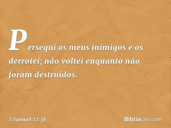 """""""Persegui os meus inimigos e os derrotei; não voltei enquanto não foram destruídos. -- 2 Samuel 22:38"""