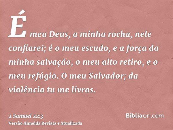 É meu Deus, a minha rocha, nele confiarei; é o meu escudo, e a força da minha salvação, o meu alto retiro, e o meu refúgio. O meu Salvador; da violência tu me l