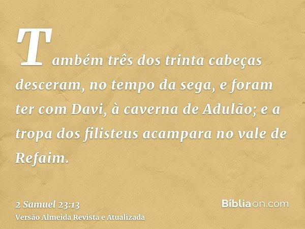 Também três dos trinta cabeças desceram, no tempo da sega, e foram ter com Davi, à caverna de Adulão; e a tropa dos filisteus acampara no vale de Refaim.