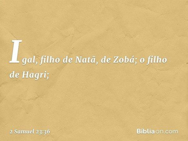 Igal, filho de Natã, de Zobá; o filho de Hagri; -- 2 Samuel 23:36