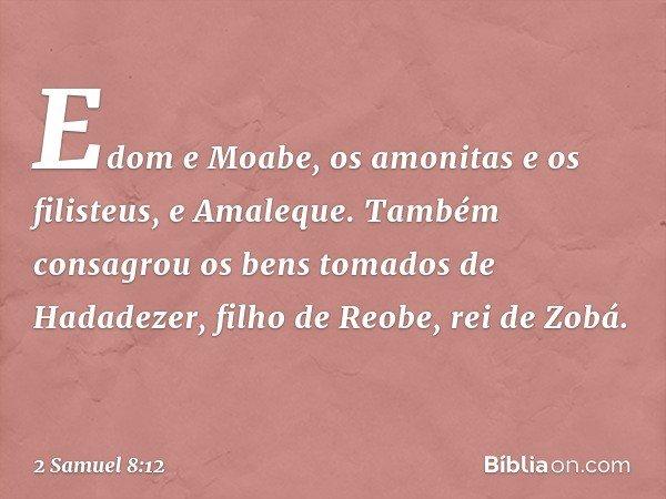 Edom e Moabe, os amonitas e os filisteus, e Amaleque. Também consagrou os bens tomados de Hadadezer, filho de Reobe, rei de Zobá. -- 2 Samuel 8:12