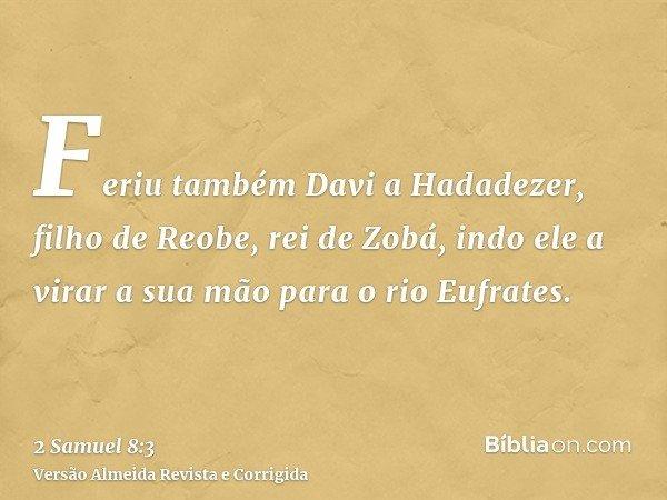 Feriu também Davi a Hadadezer, filho de Reobe, rei de Zobá, indo ele a virar a sua mão para o rio Eufrates.