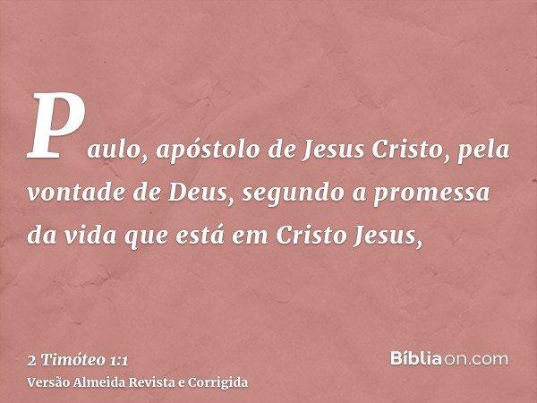 Paulo, apóstolo de Jesus Cristo, pela vontade de Deus, segundo a promessa da vida que está em Cristo Jesus,