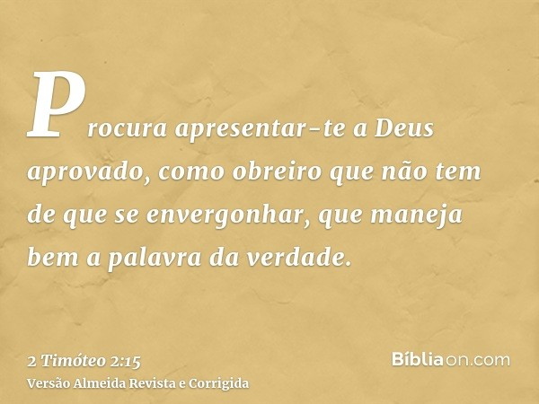 Procura apresentar-te a Deus aprovado, como obreiro que não tem de que se envergonhar, que maneja bem a palavra da verdade.