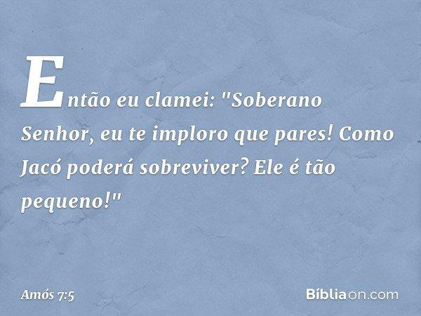 """Então eu clamei: """"Soberano Senhor, eu te imploro que pares! Como Jacó poderá sobreviver? Ele é tão pequeno!"""" -- Amós 7:5"""
