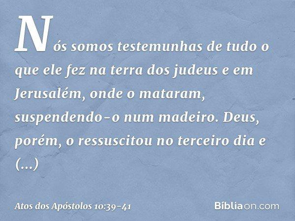 """""""Nós somos testemunhas de tudo o que ele fez na terra dos judeus e em Jerusalém, onde o mataram, suspendendo-o num madeiro. Deus, porém, o ressuscitou no tercei"""