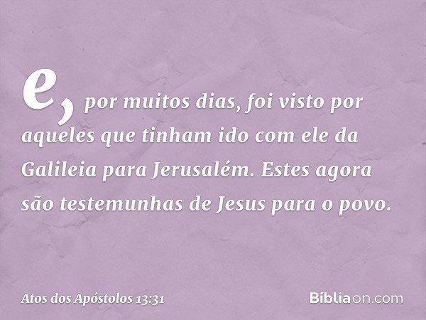 e, por muitos dias, foi visto por aqueles que tinham ido com ele da Galileia para Jerusalém. Estes agora são testemunhas de Jesus para o povo. -- Atos dos Apóst