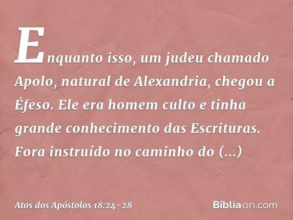 Enquanto isso, um judeu chamado Apolo, natural de Alexandria, chegou a Éfeso. Ele era homem culto e tinha grande conhecimento das Escrituras. Fora instruído no