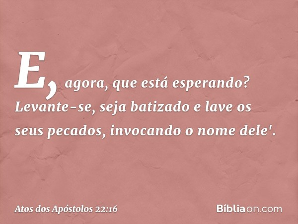 E, agora, que está esperando? Levante-se, seja batizado e lave os seus pecados, invocando o nome dele'. -- Atos dos Apóstolos 22:16