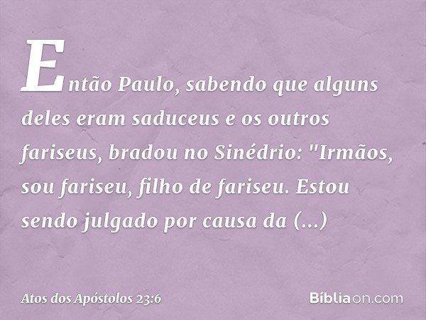 """Então Paulo, sabendo que alguns deles eram saduceus e os outros fariseus, bradou no Sinédrio: """"Irmãos, sou fariseu, filho de fariseu. Estou sendo julgado por ca"""
