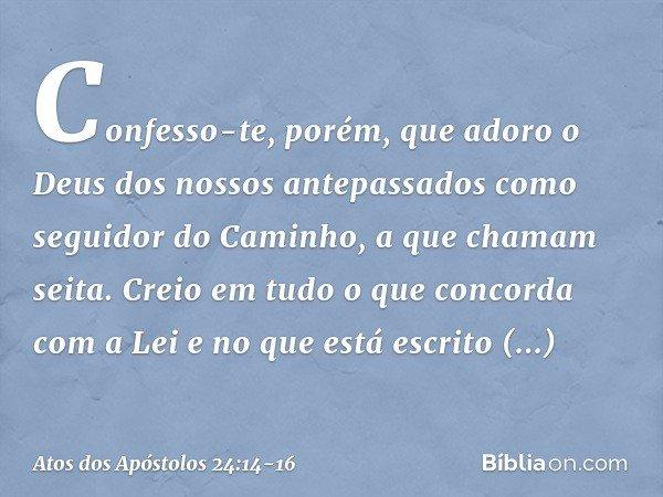 Confesso-te, porém, que adoro o Deus dos nossos antepassados como seguidor do Caminho, a que chamam seita. Creio em tudo o que concorda com a Lei e no que está