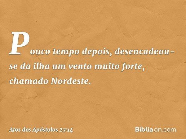 Pouco tempo depois, desencadeou-se da ilha um vento muito forte, chamado Nordeste. -- Atos dos Apóstolos 27:14