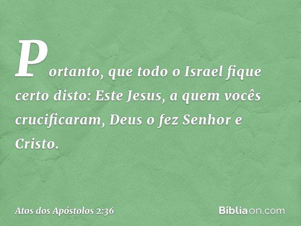 """""""Portanto, que todo o Israel fique certo disto: Este Jesus, a quem vocês crucificaram, Deus o fez Senhor e Cristo"""". -- Atos dos Apóstolos 2:36"""