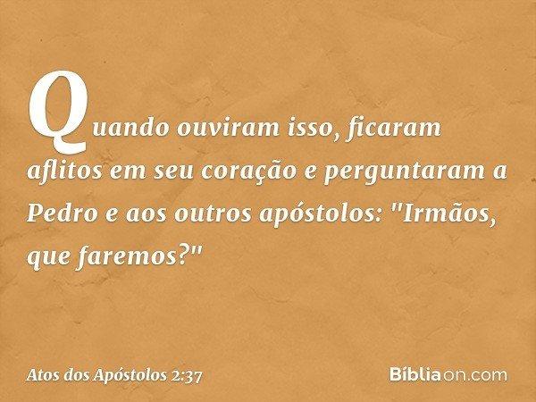 """Quando ouviram isso, ficaram aflitos em seu coração e perguntaram a Pedro e aos outros apóstolos: """"Irmãos, que faremos?"""" -- Atos dos Apóstolos 2:37"""