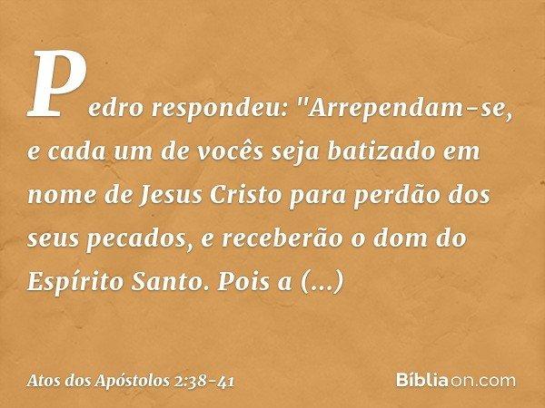 """Pedro respondeu: """"Arrependam-se, e cada um de vocês seja batizado em nome de Jesus Cristo para perdão dos seus pecados, e receberão o dom do Espírito Santo. Poi"""