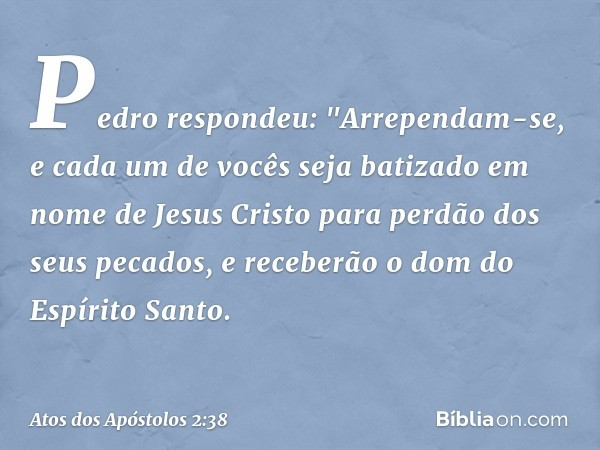 """Pedro respondeu: """"Arrependam-se, e cada um de vocês seja batizado em nome de Jesus Cristo para perdão dos seus pecados, e receberão o dom do Espírito Santo. --"""