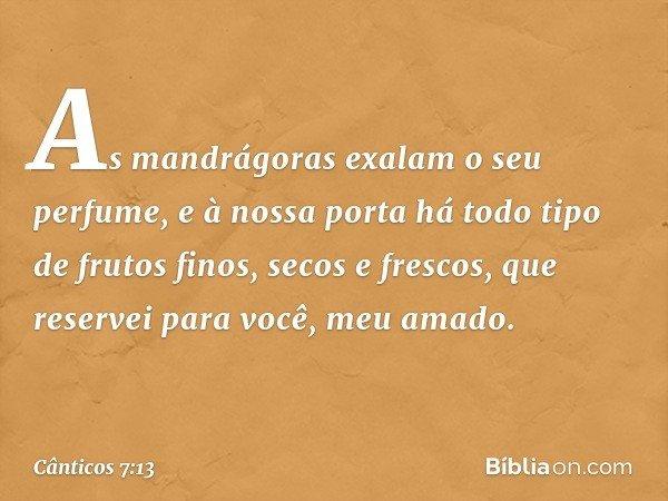 As mandrágoras exalam o seu perfume, e à nossa porta há todo tipo de frutos finos, secos e frescos, que reservei para você, meu amado. -- Cânticos 7:13