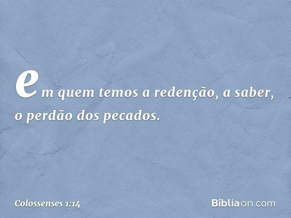 em quem temos a redenção, a saber, o perdão dos pecados. -- Colossenses 1:14
