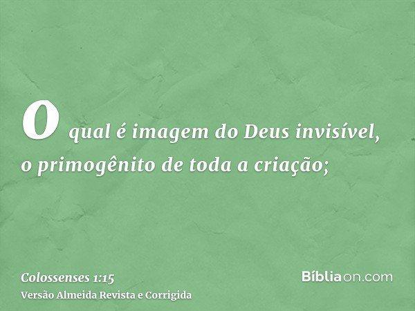 o qual é imagem do Deus invisível, o primogênito de toda a criação;